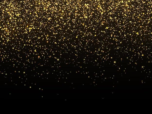 Goldener regen getrennt auf schwarzem hintergrund. feierliche tapete der vektorgoldkorn-beschaffenheit Premium Vektoren