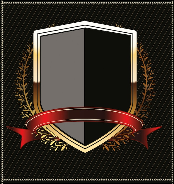 Goldener schild mit lorbeerkranz Premium Vektoren