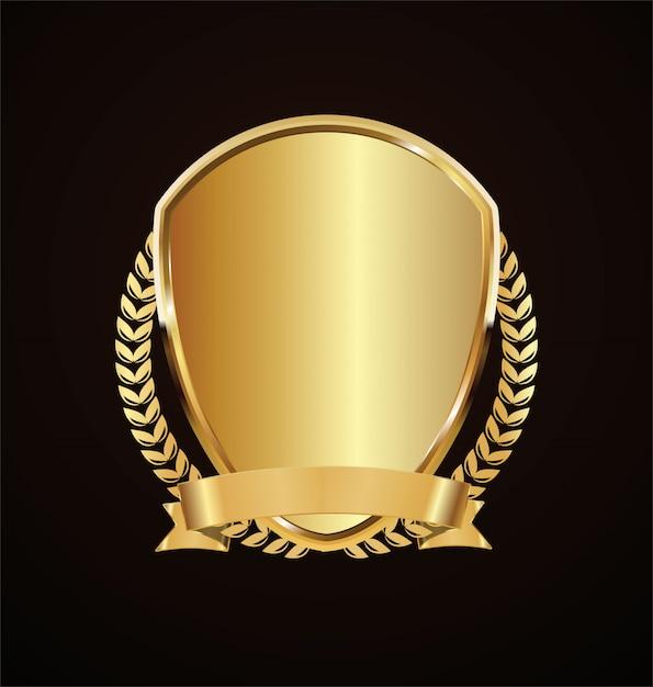 Goldener schild retro-design Premium Vektoren