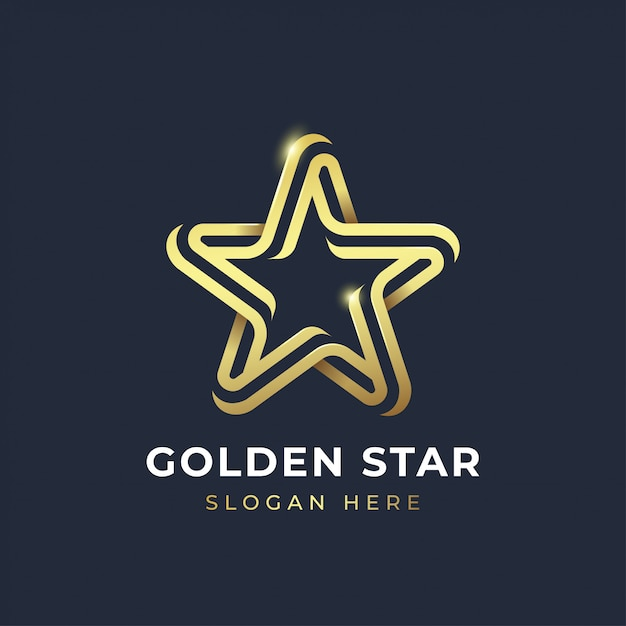 Goldener stern logo vorlage Premium Vektoren