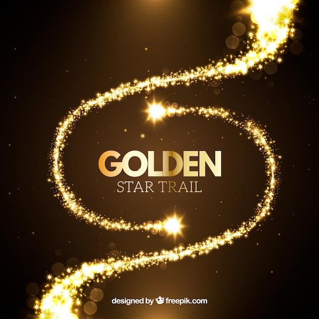 Goldener stern-trail-set Kostenlosen Vektoren