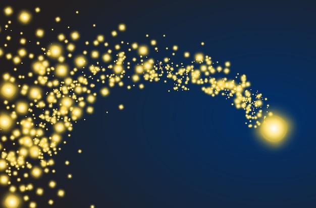 Goldener sternschnuppe mit funkelndem schwanz. vektorkomet, meteorit oder asteroid Kostenlosen Vektoren