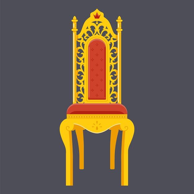 Goldener stuhl. majestätischer thron. Premium Vektoren