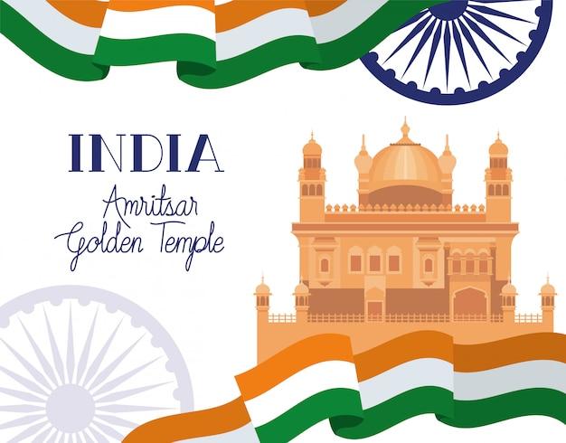 Goldener tempel des indischen amritsar mit flagge Kostenlosen Vektoren