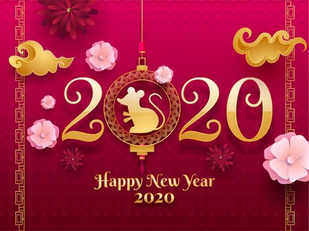 Goldener text 2020 mit hängenden rattensternzeichen- und -papierschnittblumen verziert auf rosa nahtlosem kreispunktmuster für guten rutsch ins neue jahr-feier. Premium Vektoren