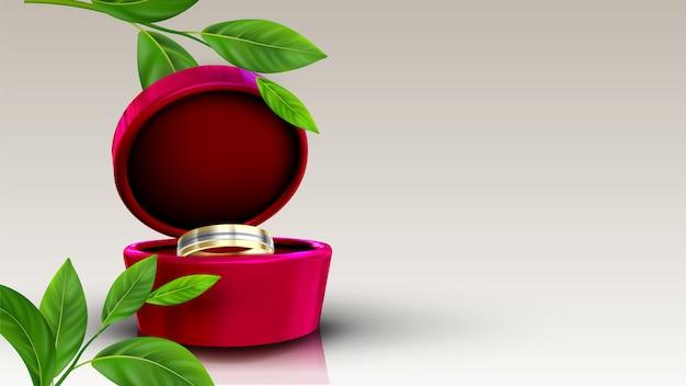 Goldener und silberner ring des schmucks im roten kasten Premium Vektoren