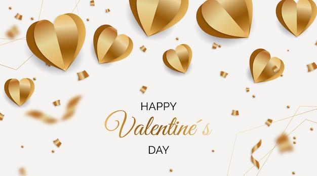 Goldener valentinstag hintergrund Kostenlosen Vektoren