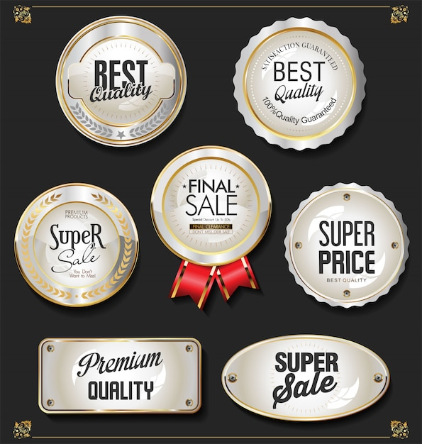 Goldener verkauf beschriftet retro- weinleseauslegung Premium Vektoren