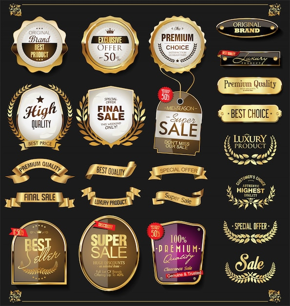 Goldener verkauf beschriftet retro- weinleseauslegungssammlung Premium Vektoren