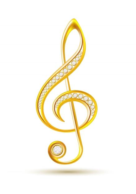 Goldener violinschlüssel mit diamanten Premium Vektoren