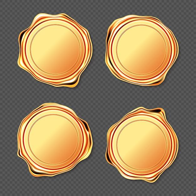 Goldener wachssiegelstempel Kostenlosen Vektoren