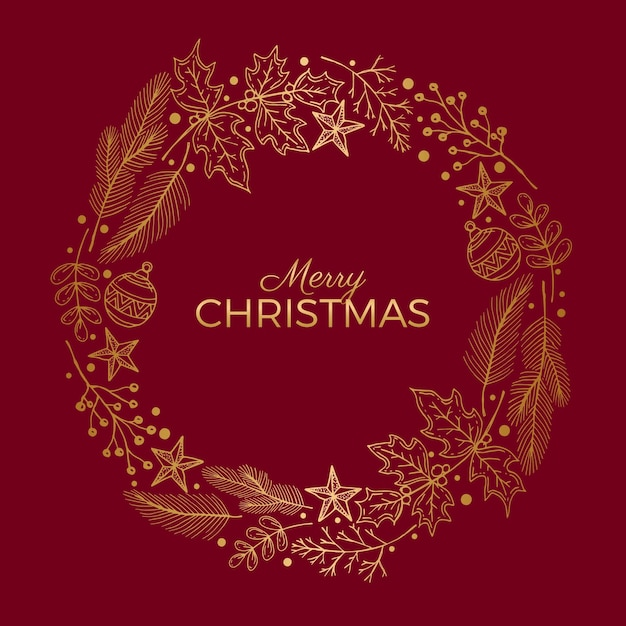 Goldener weihnachtskranz Kostenlosen Vektoren