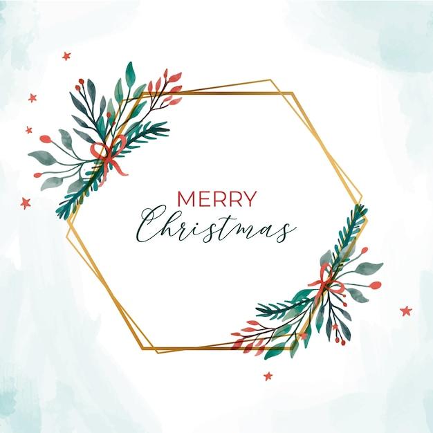 Goldener weihnachtsrahmen mit eleganten blättern Kostenlosen Vektoren