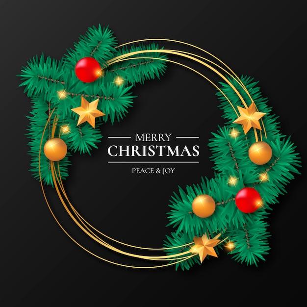 Goldener weihnachtsrahmen mit verzierungen Kostenlosen Vektoren
