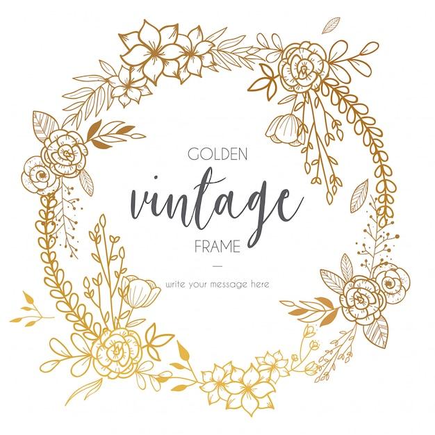 Goldener Weinlese-Rahmen mit Blumen Kostenlose Vektoren