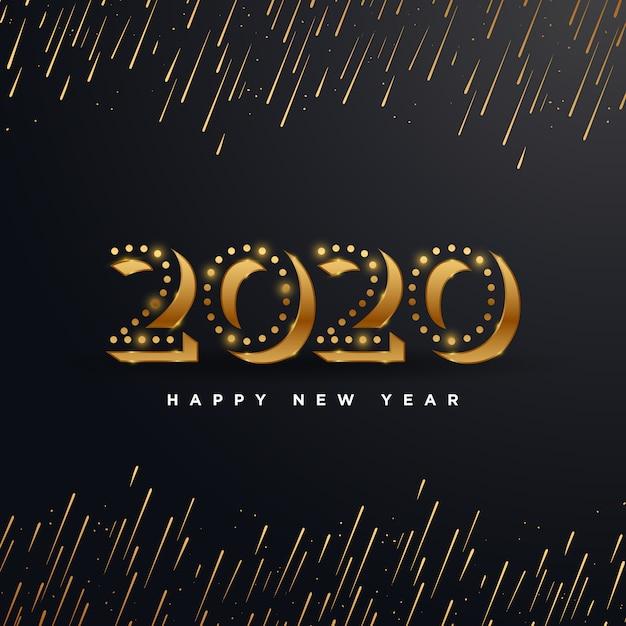 Goldenes 2020 guten rutsch ins neue jahr mit der feuerwerksillustration lokalisiert auf schwarzem Premium Vektoren