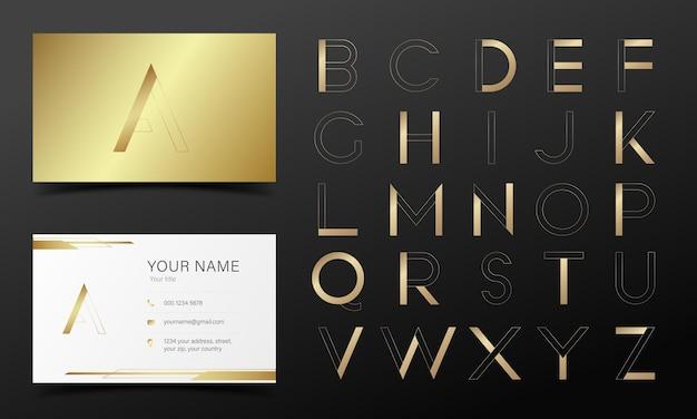 Goldenes alphabet im modernen stil für logo- und markendesign. Kostenlosen Vektoren