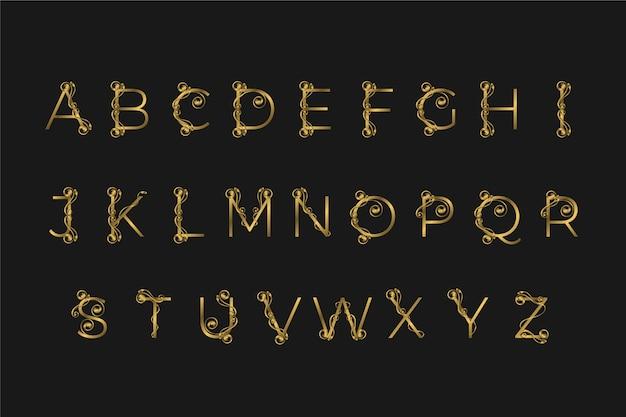 Goldenes alphabet mit eleganten blumen Kostenlosen Vektoren