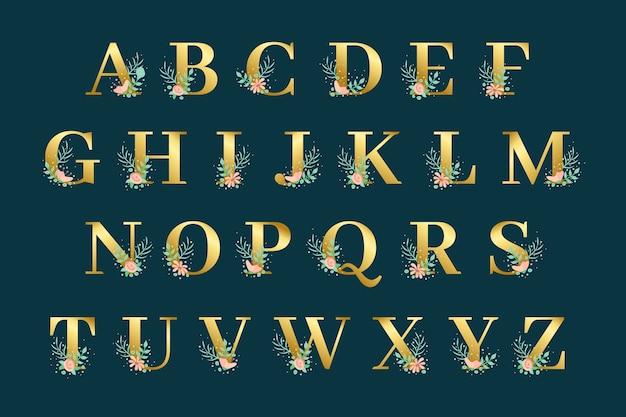 Goldenes alphabet mit goldenem blumendesign Kostenlosen Vektoren