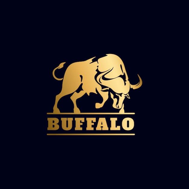 Goldenes büffel-logo Premium Vektoren