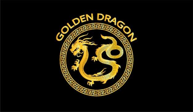Goldenes drachenillustrationssymbol Premium Vektoren