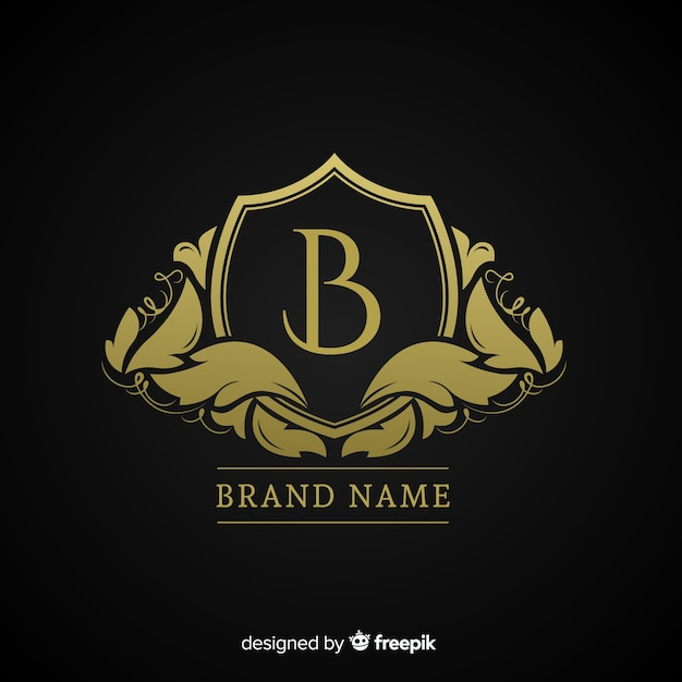Goldenes elegantes logo flachen stil Kostenlosen Vektoren