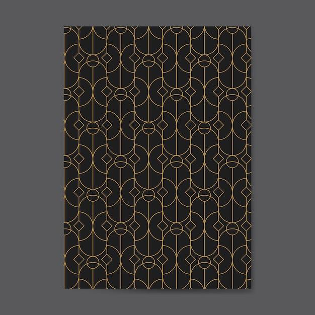 Goldenes geometrisches nahtloses muster auf einer schwarzen karte Kostenlosen Vektoren