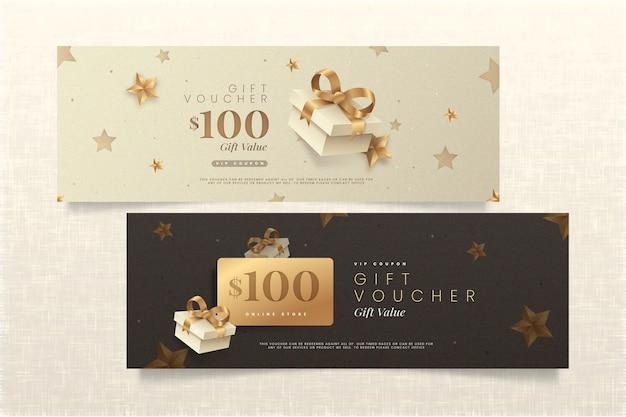 Goldenes geschenkgutschein-schablonenpaket Kostenlosen Vektoren