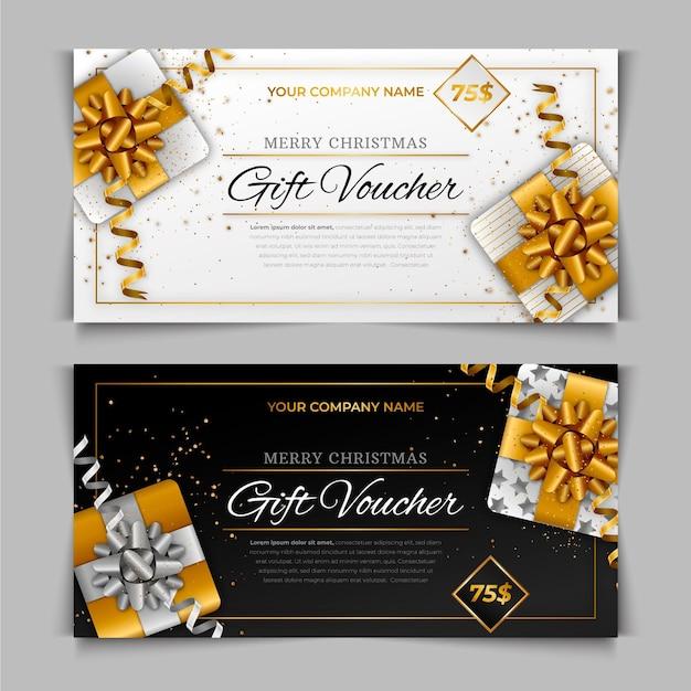 Goldenes geschenkgutschein-schablonenset Kostenlosen Vektoren