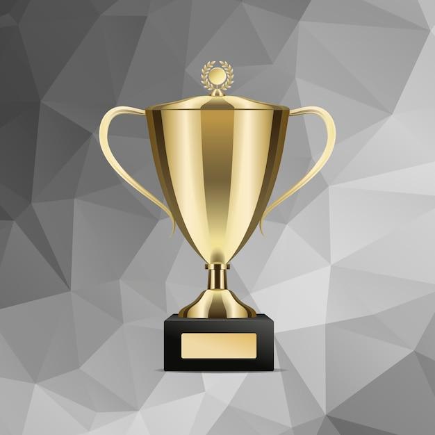 Goldenes gewinnendes trophäen-cup getrennte abbildung Premium Vektoren