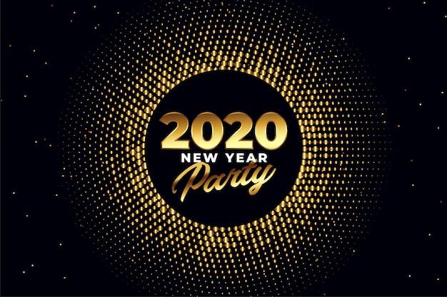 Goldenes glänzendes grußkartendesign der party des neuen jahres 2020 Kostenlosen Vektoren