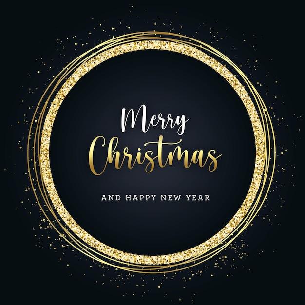 Goldenes glitzer-banner der weihnacht auf dunklem hintergrund Premium Vektoren