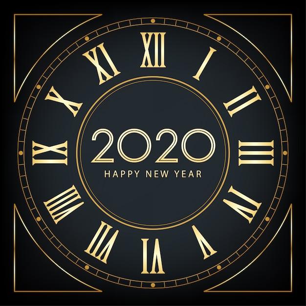 Goldenes guten rutsch ins neue jahr 2020 und mantel mit funkeln auf schwarzem farbhintergrund Premium Vektoren