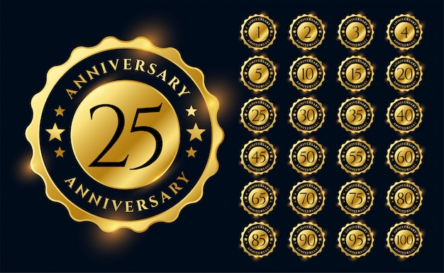 Goldenes jubiläum etiketten logo embleme großen satz Kostenlosen Vektoren
