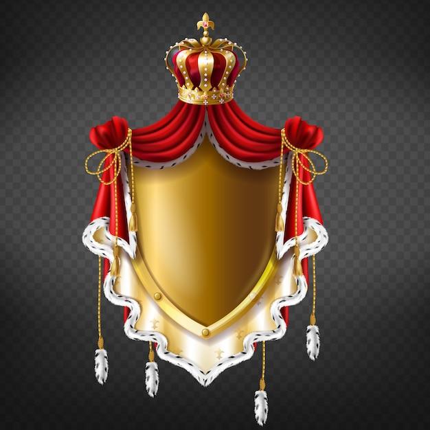 Goldenes königliches wappen mit krone, schild und fransenpelz. Kostenlosen Vektoren