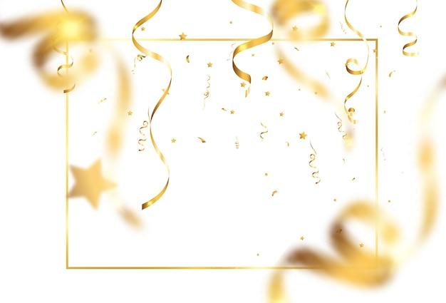 Goldenes konfetti fällt. fallende luftschlangen. Premium Vektoren