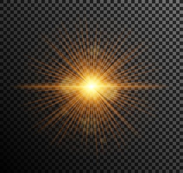 Goldenes licht. glänzende partikel, bokeh, funken, blendung mit einem highlight-effekt Kostenlosen Vektoren