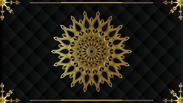 Goldenes mandala-design des modernen luxus mit schwarzem hintergrund Premium Vektoren