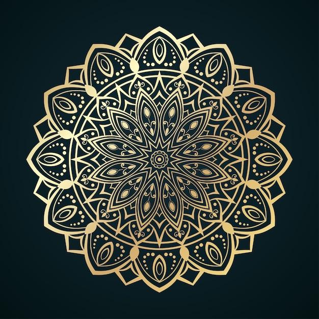 Goldenes mandalamuster mit marokkanischen oder islamischen motiven Premium Vektoren