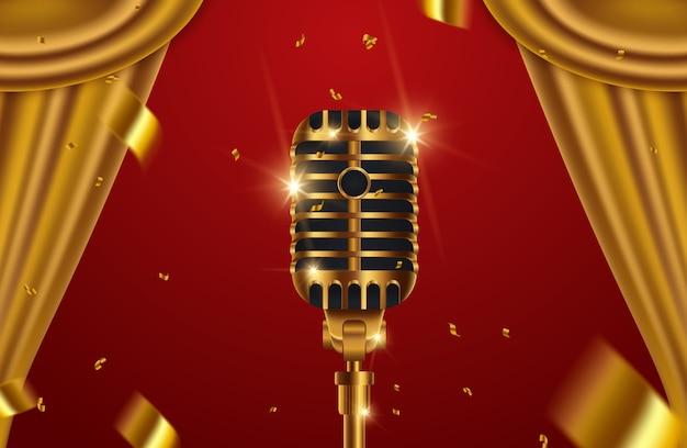 Goldenes mikrofon mit vorhängen auf rotem stadiumshintergrund Premium Vektoren