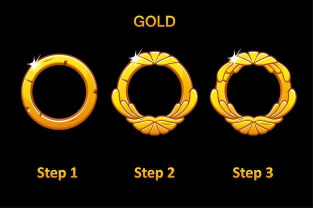 Goldenes rundes rahmenset Premium Vektoren
