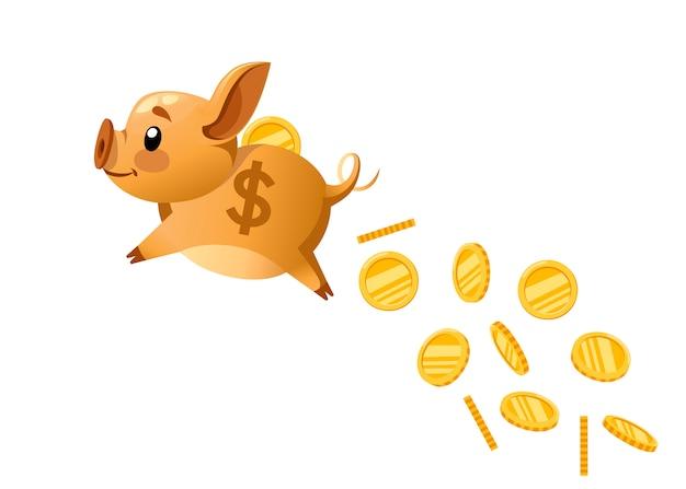 Goldenes sparschwein fliegt und münze fallen lässt. das konzept, geld zu sparen oder zu sparen oder eine bankeinlage zu eröffnen. illustration auf weißem hintergrund Premium Vektoren