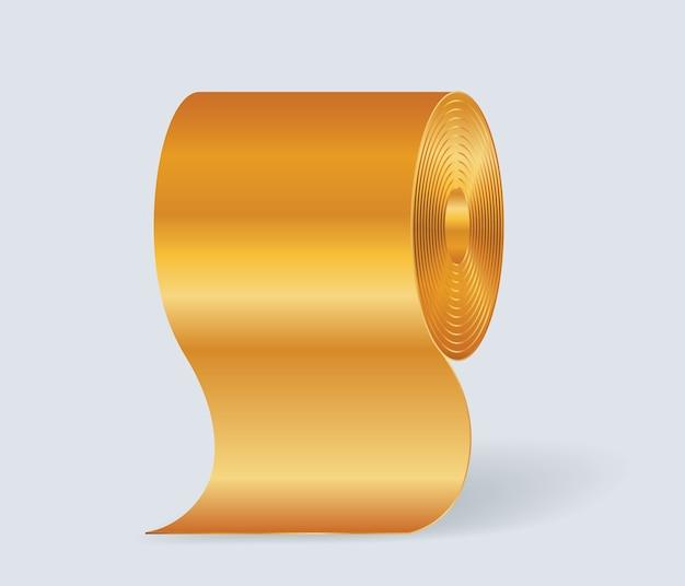 Goldenes toilettenpapier lokalisiert auf weißem hintergrund. Premium Vektoren