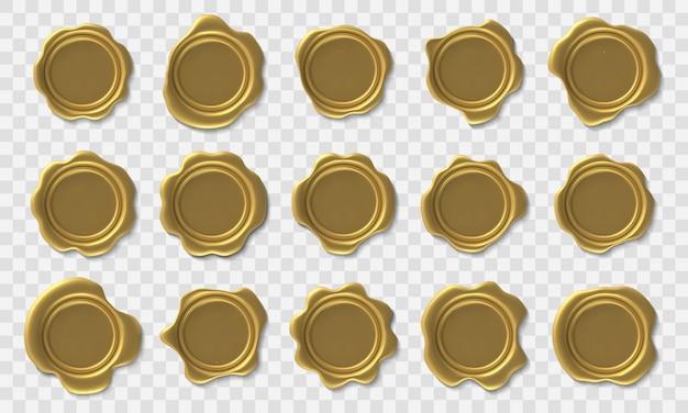 Goldenes wachssiegel. umschlag retro post briefmarke, premium gold royal approach wachssiegel und sicherheit porto zertifikat und elite diplom icons gesetzt Premium Vektoren