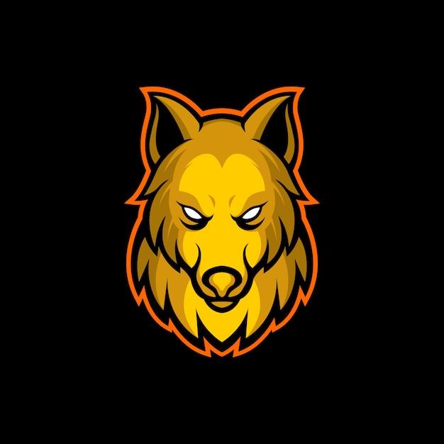 Goldenes wolfslogo Premium Vektoren