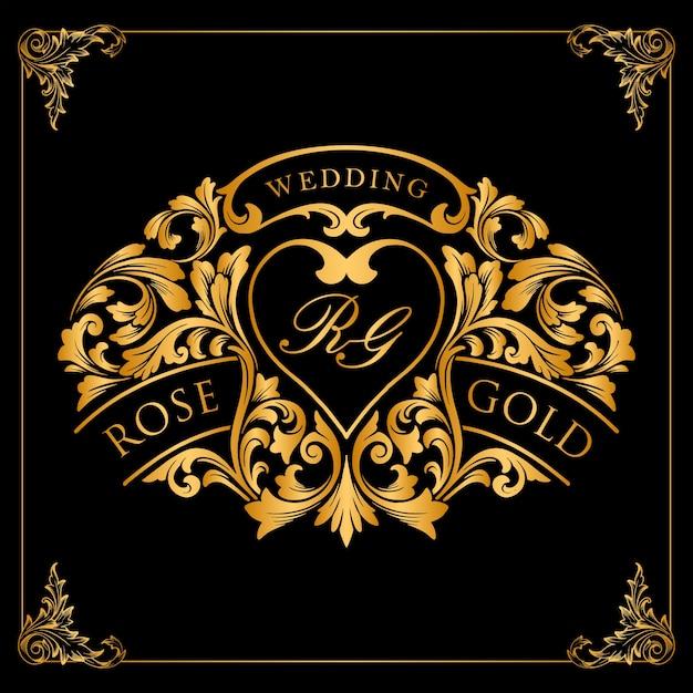 Goldetikett und luxusrahmenverzierungen für ihren hochzeitseinladungsentwurf Premium Vektoren