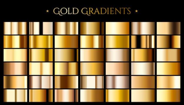 Goldfarbverlauf, satz aus abstraktem metallic Premium Vektoren