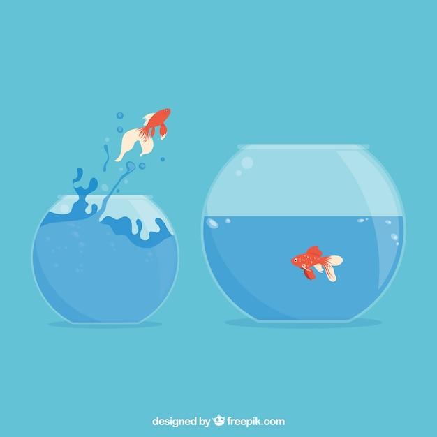 Goldfisch, der aus goldfischglas in der flachen art heraus springt Kostenlosen Vektoren
