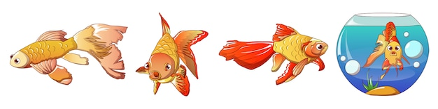 Goldfischikonen eingestellt, karikaturart Premium Vektoren