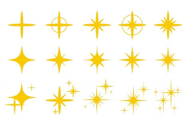 Goldgelbes licht funkelt. glitzerndes goldenes blitzeffektisolat Premium Vektoren